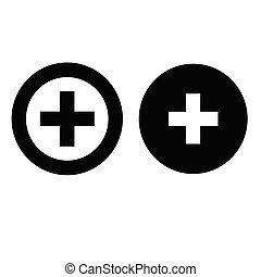 kereszt, orvosi, ikon, plusz