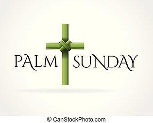 kereszt, pálma, keresztény, téma, vasárnap, ábra