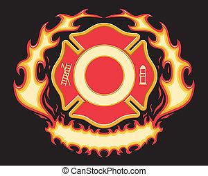 kereszt, tűzoltó, transzparens, lángoló