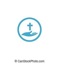 kereszt, templom, vagy, kézbesít, ikonok, ábra, birtok, symbols., vallás, jel, vektor