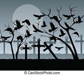 keresztbe tesz, kísérteties, temető, mindenszentek napjának előestéje, háttér, szüret, temető, komoly, holló