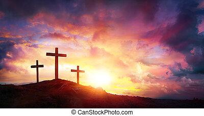 keresztbe tesz, krisztus, -, három, jézus, hegy, keresztre feszítés, napkelte