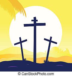 keresztbe tesz, -, színhely, három, kálváriadomb, keresztre feszítés, jézus