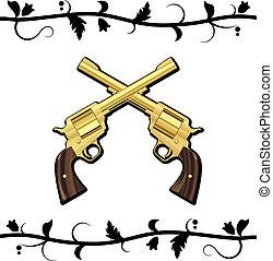 keresztbe tett, fegyverek, arany