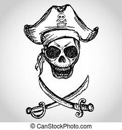 keresztbe tett, kard, kalóz, koponya, kalap