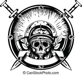 keresztbe tett, sisak, kard, koponya
