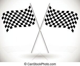 keresztbe tett, versenyzés, zászlók, tarka