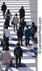 kereszteződnek utca, csoport, emberek