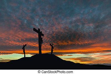 keresztre feszítés, árnykép, jézus