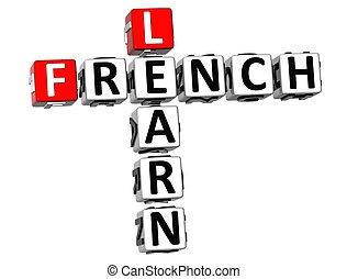 keresztrejtvény, 3, francia, tanul