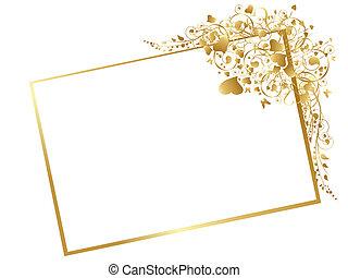 keret, ábra, arany-, virágos