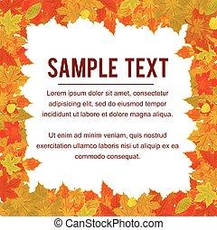 keret, ősz, vektor, tervezés, foliage., esés