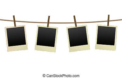 keret, fénykép, öreg, ruhaszárító kötél