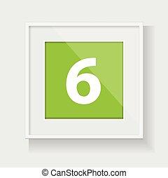 keret, hat, derékszögben, szám