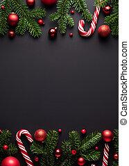 keret, karácsony, háttér, fekete, határ