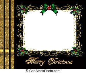 keret, karácsony, határ, fénykép