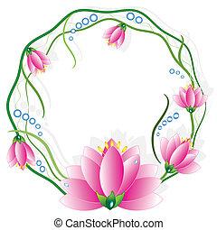 keret, kerek, vector., lotuses