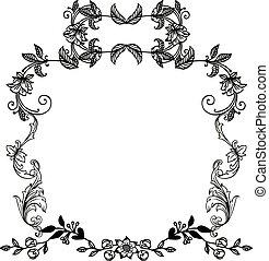 keret, koszorú, befest, vektor, fekete, retro, fehér, style.