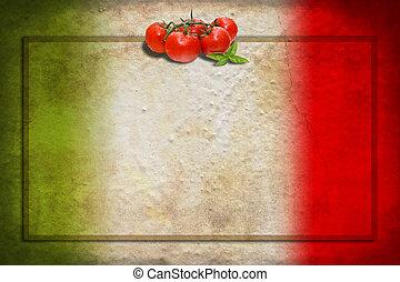 keret, lobogó, paradicsom, olasz