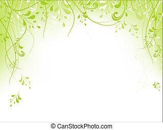 keret, lombozat, zöld