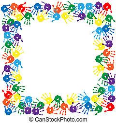 keret, nyomtatványok, színes, kéz