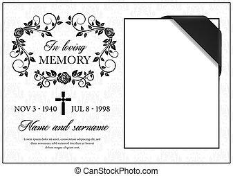 keret, szüret, kártya, részvét, vektor, temetés