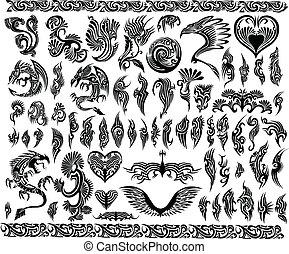keret, tetovál, állhatatos, határ, sárkányok