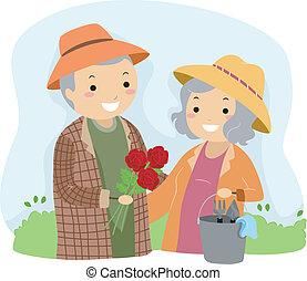 kertészkedés, idősebb ember, stickman, párosít