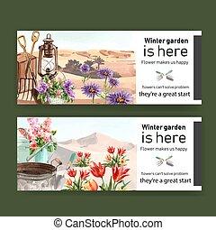 kert, illustration., eszközök, dezertál, tervezés, vízfestmény, transzparens, menstruáció, virág