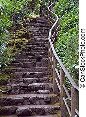 kert, lépcsőfok, kő
