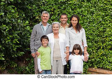 kert, portré, látszó, fényképezőgép, család, boldog