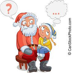 kevés, öl, leány, santa's, ülés