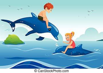 kevés, úszás, gyerekek, óceán, delfinek
