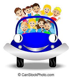 kevés, autó, gyermek, kék