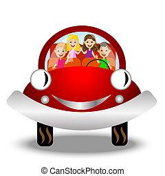 kevés, autó, gyermek, piros