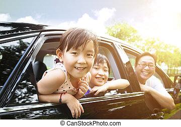 kevés, autó, leány, boldog, ülés, család