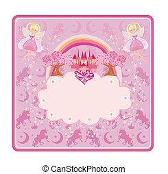 kevés, bástya, gyönyörű, rózsaszínű, tündér, fairytale, keret