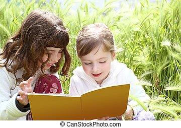 kevés, bedugaszol, kert, lány, lánytestvér, kóc, könyv, felolvasás