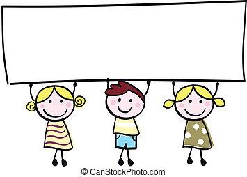kevés, birtok, transzparens, boldog, üres, csinos, -, fiú, lány, tiszta, karikatúra, illustration.