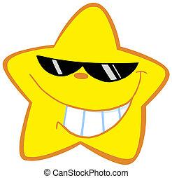 kevés, boldog, napszemüveg, csillag