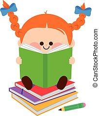 kevés, books., ábra, vektor, lány olvas