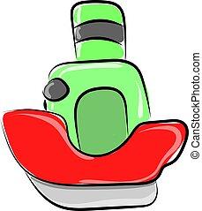 kevés, csónakázik, ábra, háttér., vektor, white piros