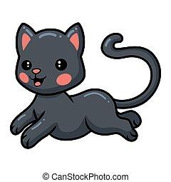 kevés, csinos, macska, fekete, karikatúra, ugrás
