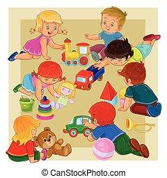 kevés, emelet, ülés, lány, fiú, apró, játék