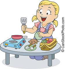 kevés, főzés, apró, leány, játék, kölyök