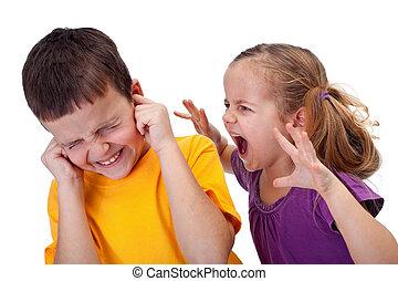 kevés, gyerekek, -, kiabálás, düh, leány, vita