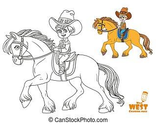 kevés, háttér, fehér, cowboy, csinos, lovaglás, fiú, ló, színezés, illeszt, oldal