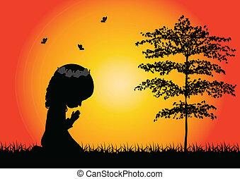 kevés, imádkozás, leány, árnykép