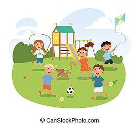 kevés, játszótér, csinos, gyermekek játék, liget