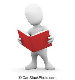 kevés, könyv, felolvas, ember, 3
